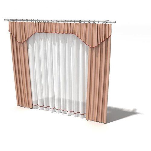 3d Peach Curtains With Pelmet Cgtrader