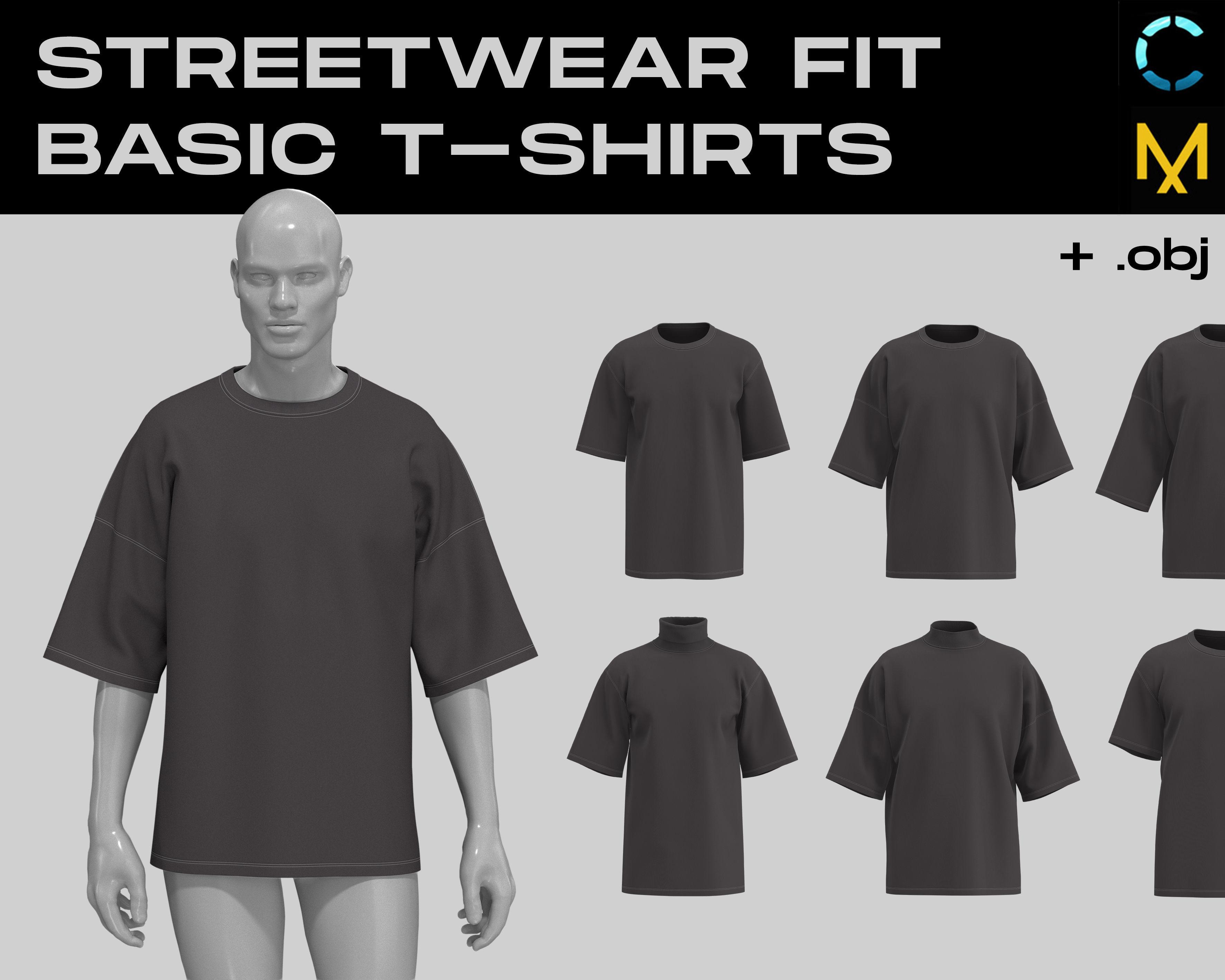 Streetwear fit basic t-shirts MD CLO 3D zprj project files