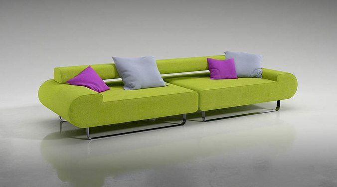 Lime Green Sofa With Pillows 3D Model