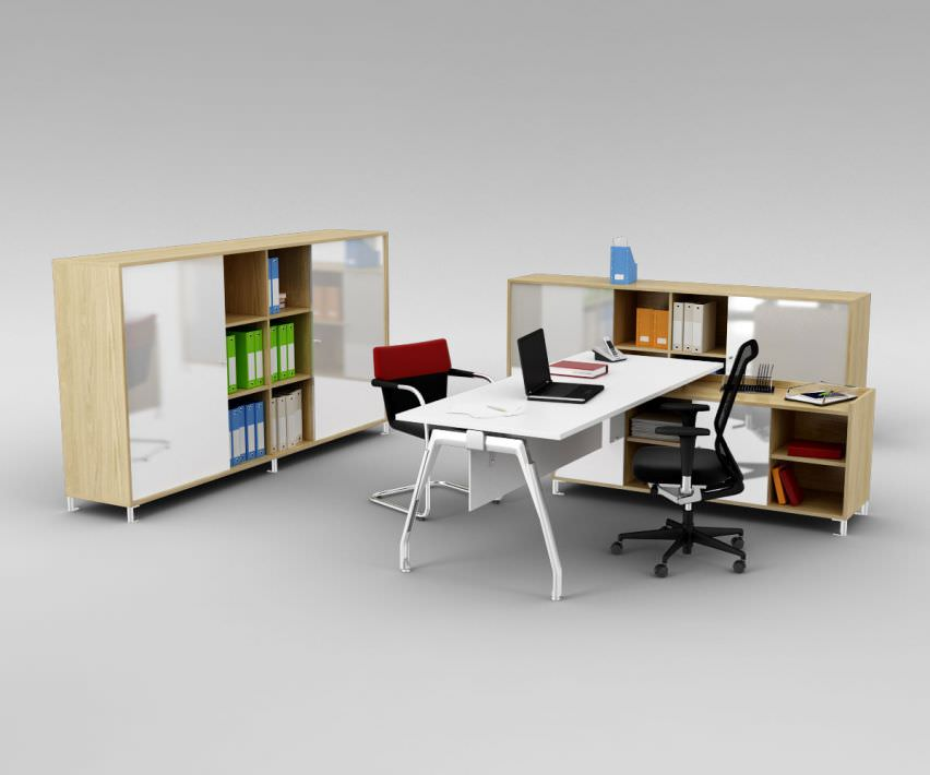 Office Workspace With Furniture 3d Model Obj Mtl 1