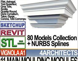 3d printable model 80 architecture moulding modules collection revit stl print