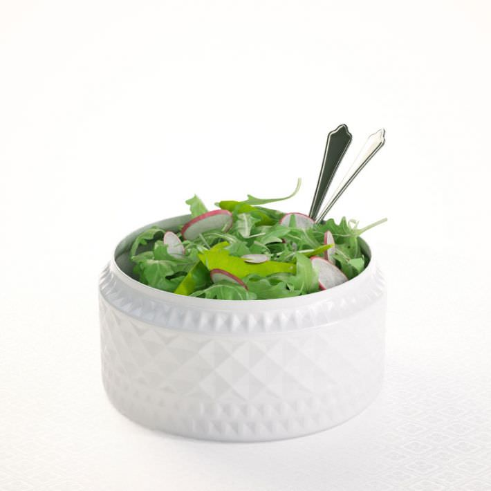 Salad In Porcelain Bowl