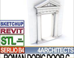 renaissance doric door c revit stl printable 3d model obj 3ds c4d dxf stl vue
