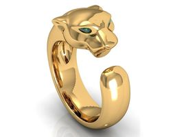 Panthere Emerald Gold Ring 3D print model