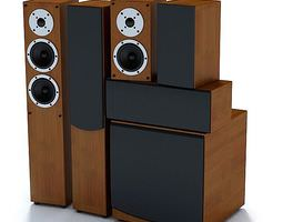 Wooden Stereo Speakers 3D model