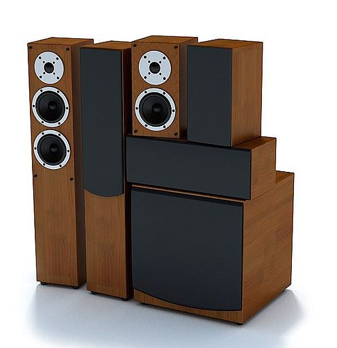 wooden stereo speakers 3d model max 1