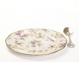 porcelain plate and spoon 3d