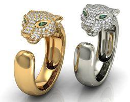 3d print model  panthere diamond gold ring