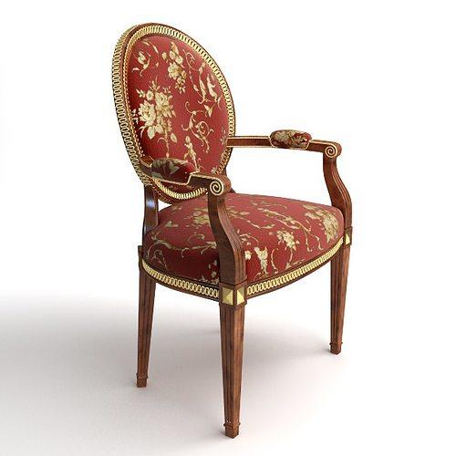 brocade armchair 3d model max obj 3ds fbx mtl 1