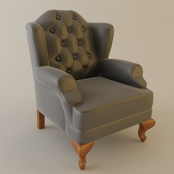 Wing Chair Tufted Back 3d Model Max Obj 3ds Fbx Mtl 1 ...