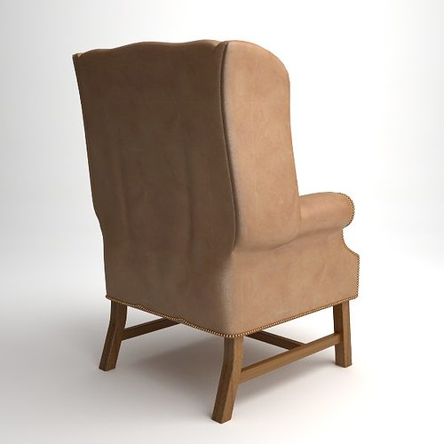 Traditional Wing Back Armchair 3D Model MAX OBJ 3DS FBX ...