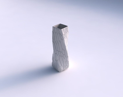 3d print model vase twisted rectangle with organic cells