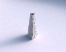 3d print model vase puffy tipped triangle with twisted random triangle plates