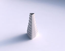 3d print model vase puffy tipped triangle with horizontal layers