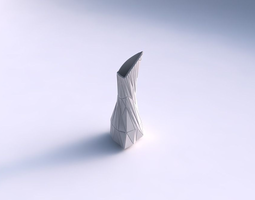 vase puffy tappered triangle with twisted random triangle plates 3d print model