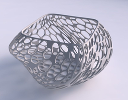 3d printable model bowl helix with vertical organic lattice