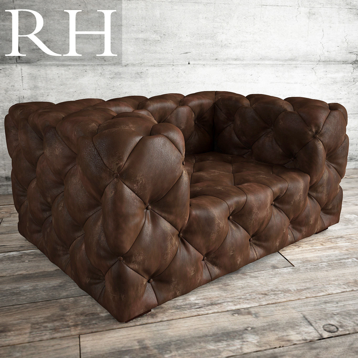 Soho Tufted Leather Chair 3d Model Max Fbx 1 ...
