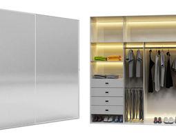 3D model mirror bedroom wardrobe