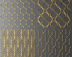 Set panel lattice grille 3D 50