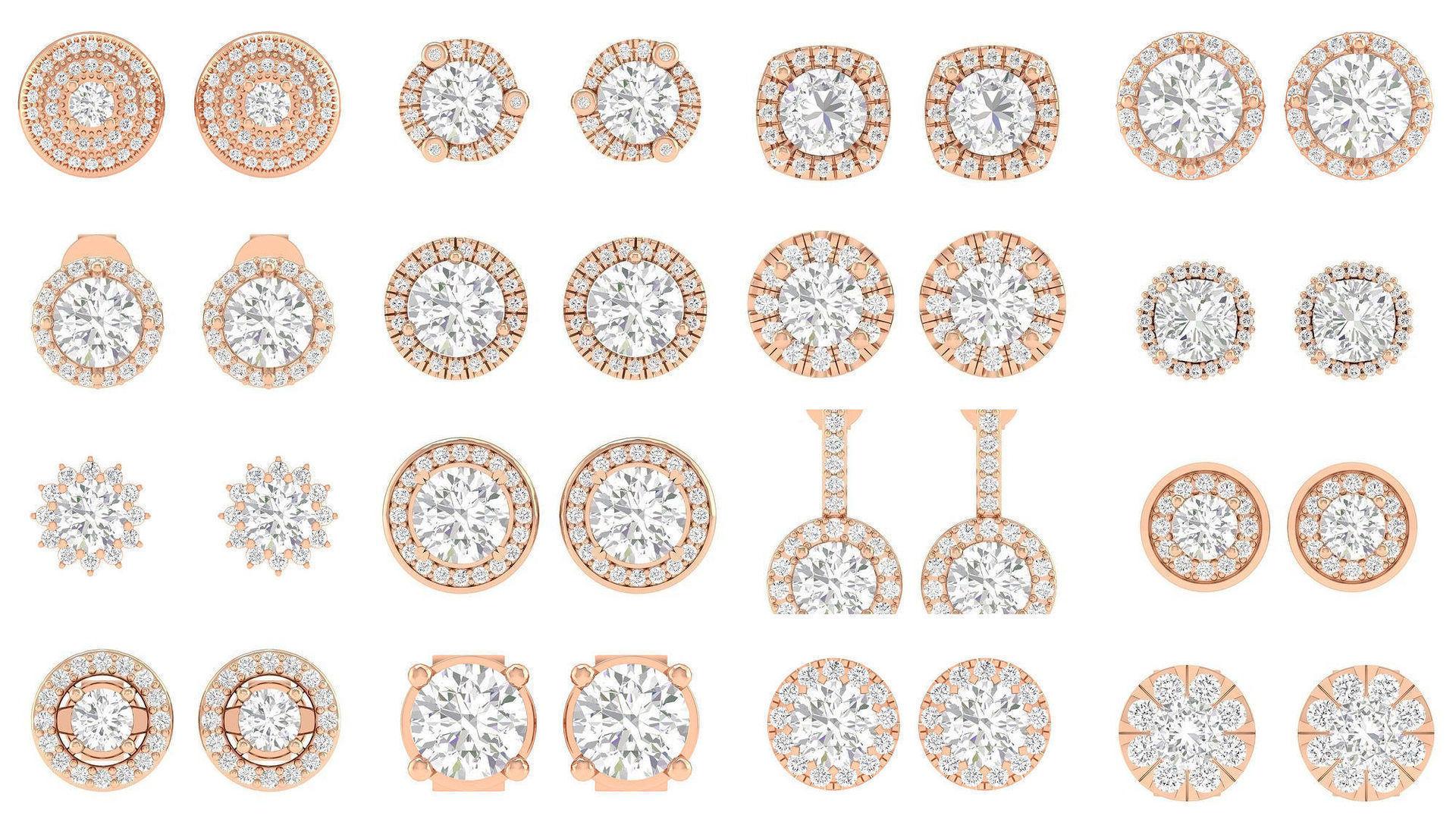 88 Women Solitaire Earrings 3dm stl render detail