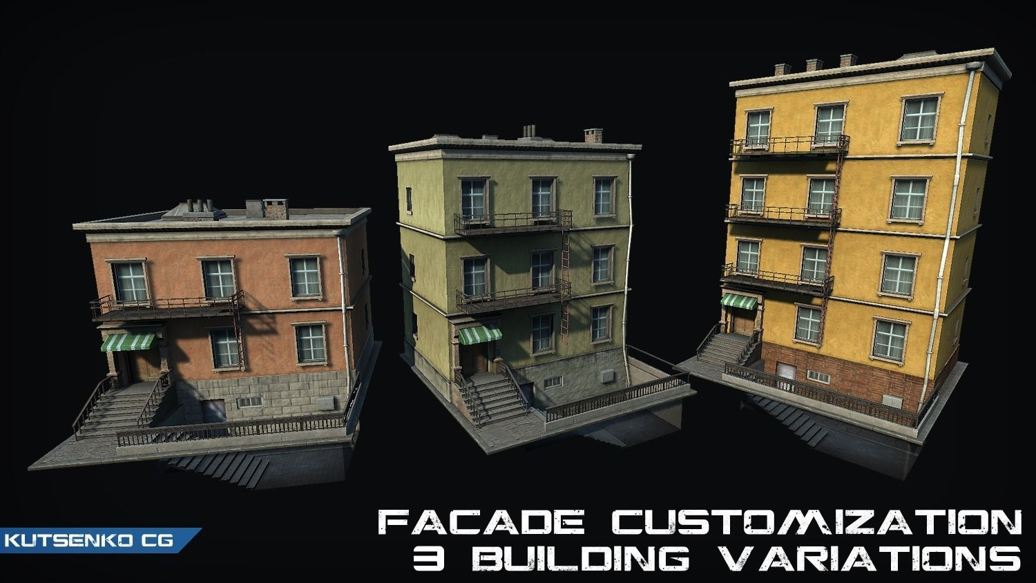 Customizable city building Low-poly 3D model Type04
