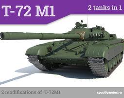 T-72M1 Russian main battle tank 2 tanks in 1 3D Model