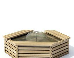 3D Wooden Hexagon Fountain