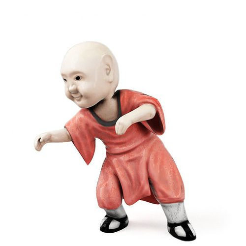 detailed figurine of a monk in orange and black 3d model obj 1