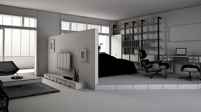 ... Living Room And Bedroom 3d Model Max Tga 5