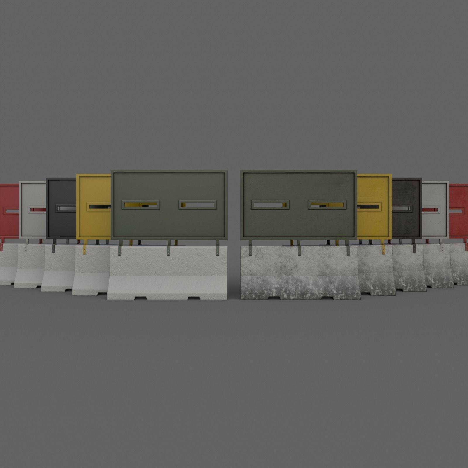 PBR Concrete Roadblock Barrier V5