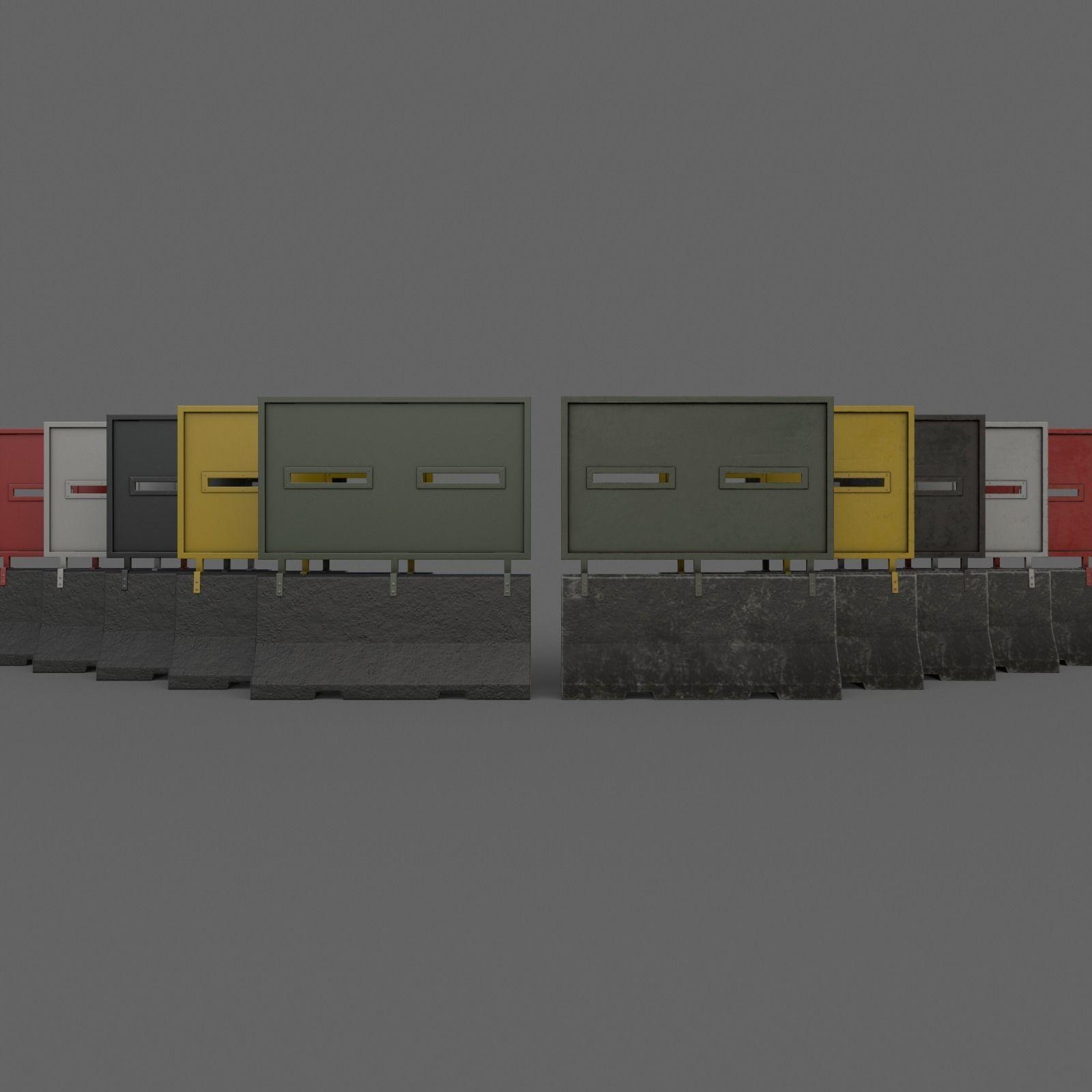 PBR Concrete Roadblock Barrier V6