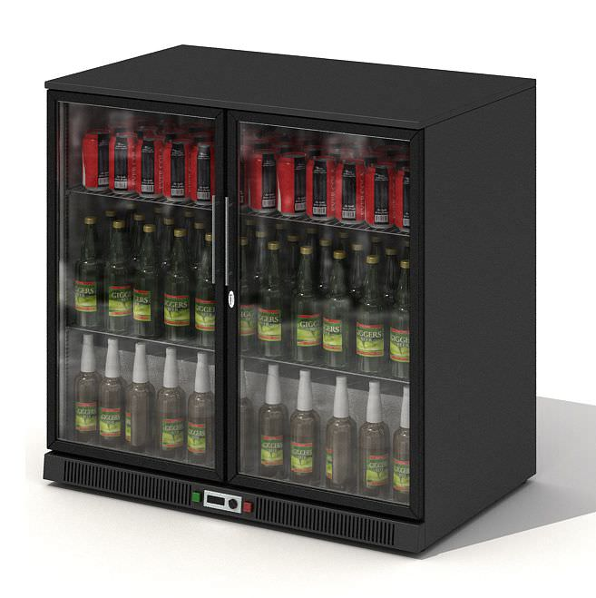 Black Glass Door Beer Fridge 3d Model Obj 1