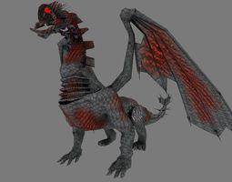 realtime animated 3d model dragon low poly