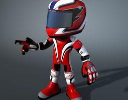 Cartoon Character Biker 3D Model