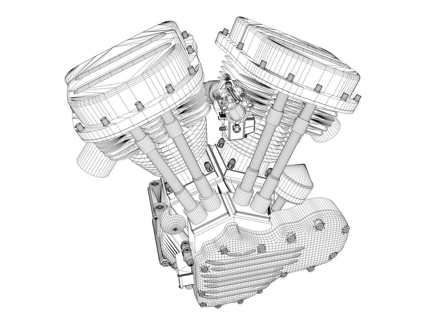 panhead harley motorcycle engine 3d cgtrader Harley Flathead panhead harley motorcycle engine 3d model obj mtl 3ds fbx c4d dxf stl 6