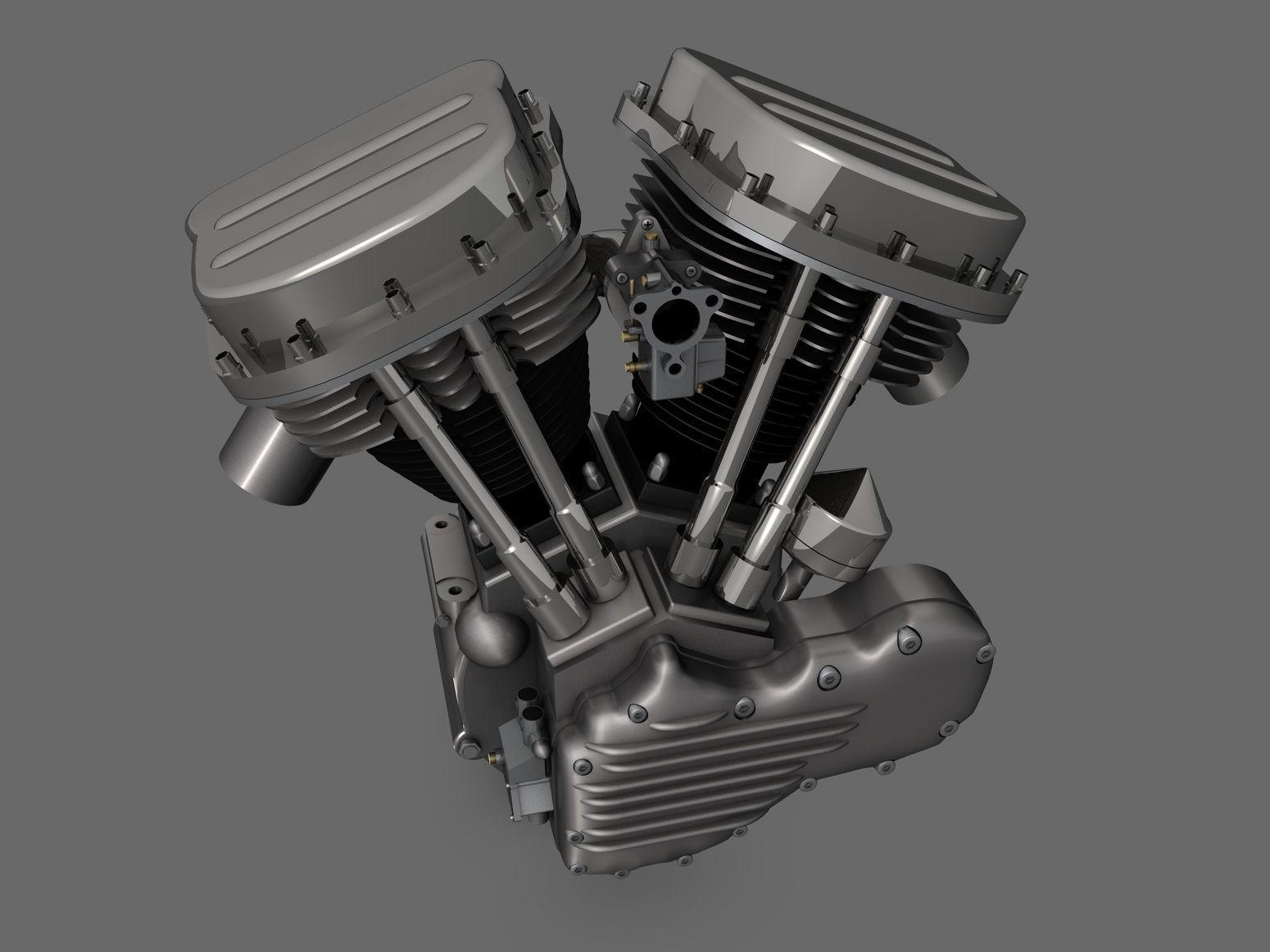 Panhead Harley Motorcycle Engine