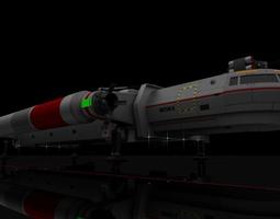 animated 3d heavy interplanetary escort shuttle