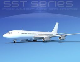 3D Boeing 707-320 SS Unmarked 1