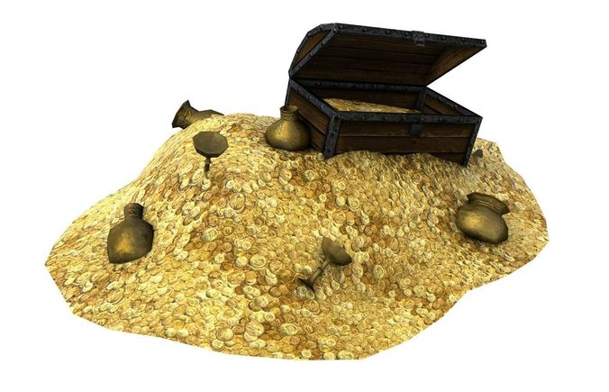 treasure with coins and chest 3d model low-poly max obj mtl 3ds fbx c4d tga 1