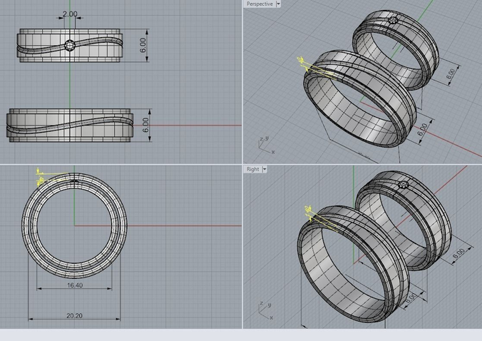 wedding bands with 2 mm stone  3d model stl 3dm 4