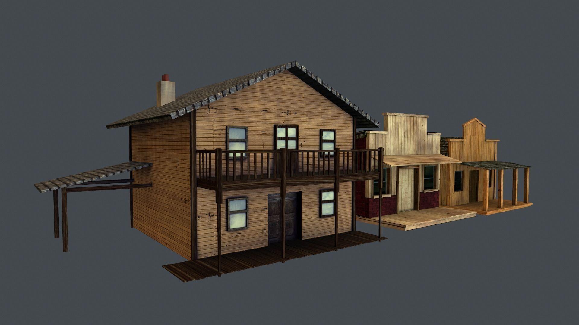 3d model western styled building low poly game ready models set of 3 vr ar low poly obj. Black Bedroom Furniture Sets. Home Design Ideas