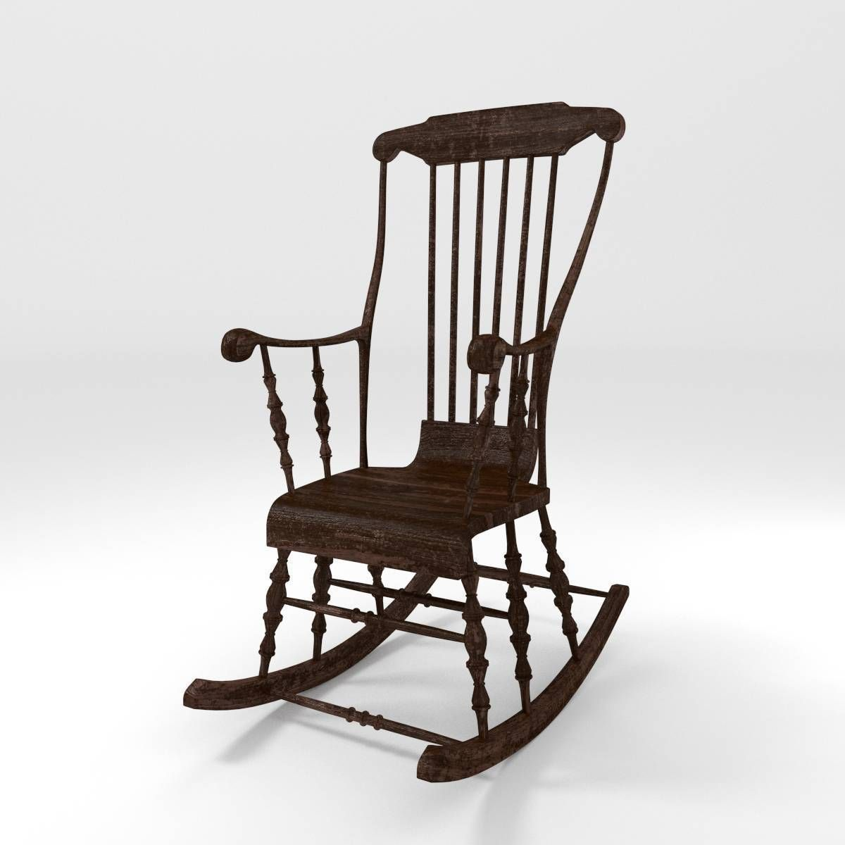 classic rocking chair 3d model obj fbx blend. Black Bedroom Furniture Sets. Home Design Ideas