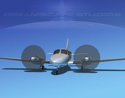 3d model realtime rigged cessna 402 businessliner ss