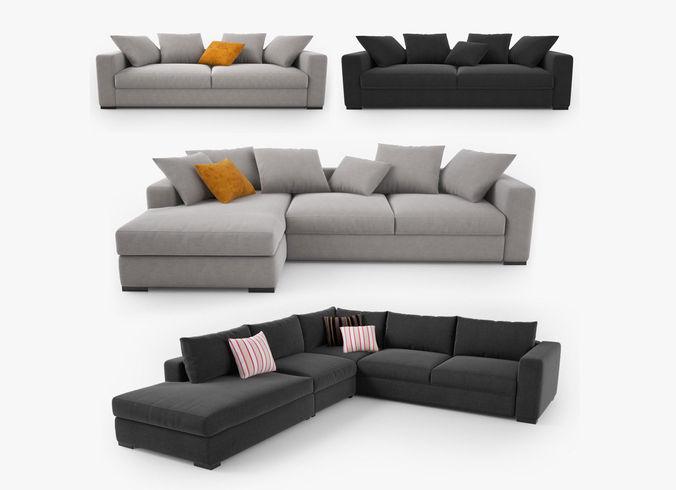 boconcept cenova sofa set 3d cgtrader. Black Bedroom Furniture Sets. Home Design Ideas