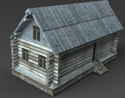 game-ready 3d asset wooden buildings