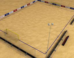 low-poly 3d asset beach soccer stadium field low poly