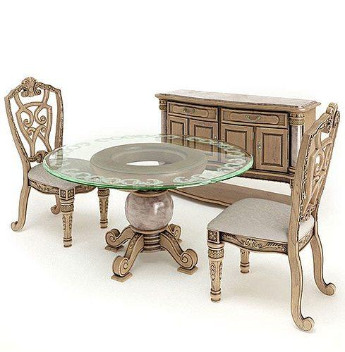 antique dining set 3d model obj 1