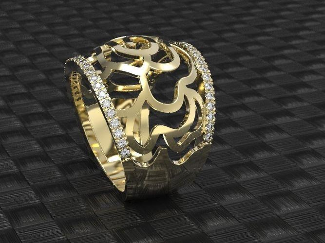 gold rose ring 3d print model unique flower ring stl 3dm file  3d model stl 3dm 1