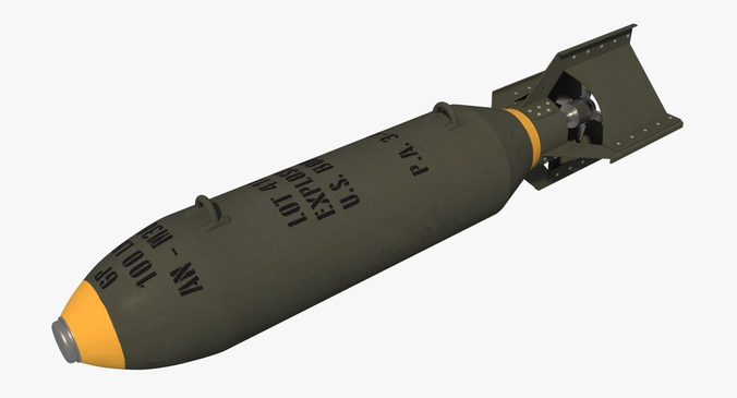 wwii 100lb bomb - an-m30 gp100 3d model obj mtl 3ds fbx blend 1