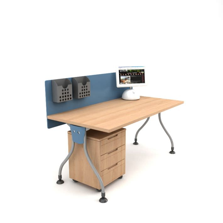 Work Desk With Drawers 3d Model Obj